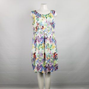 Lavena Purple Flower Print Dress Size L